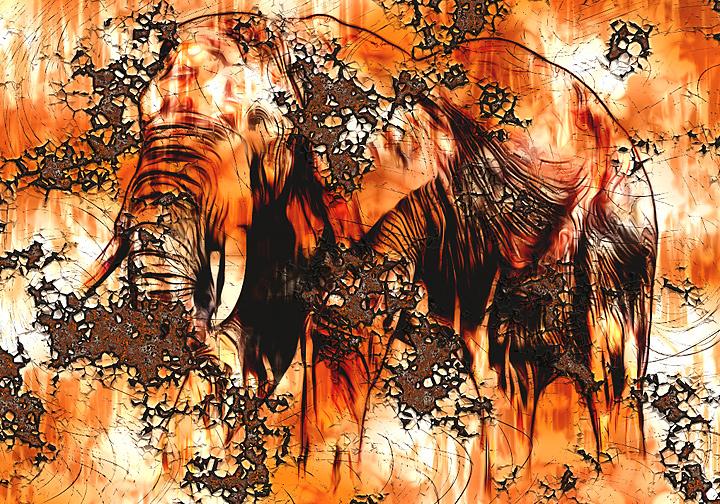 Rostige Elefant mit Filter Forge